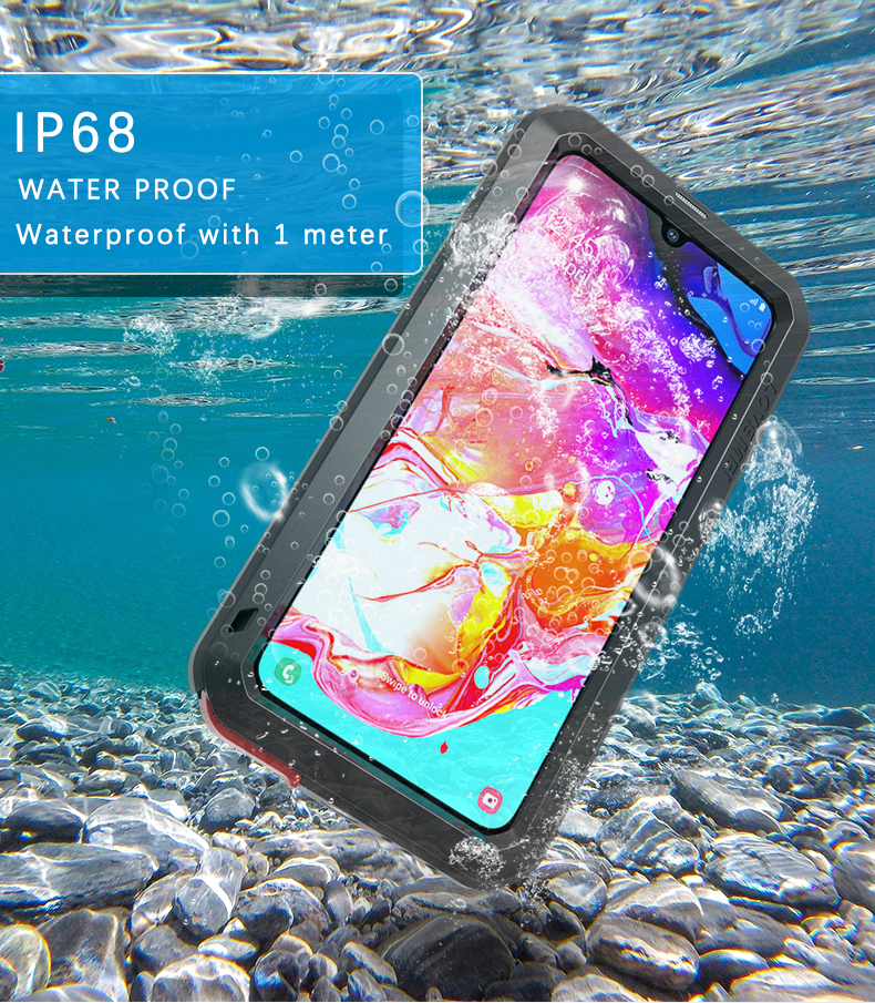 Love Mei IP68 Waterproof Phone <font><b>Case</b></font> For <font><b>Samsung</b></font> Galaxy <font><b>A70</b></font> Powerful Shock Dirt Metal Armor Cover For Galaxy <font><b>A70</b></font> & <font><b>Tempered</b></font> <font><b>Glass</b></font> image