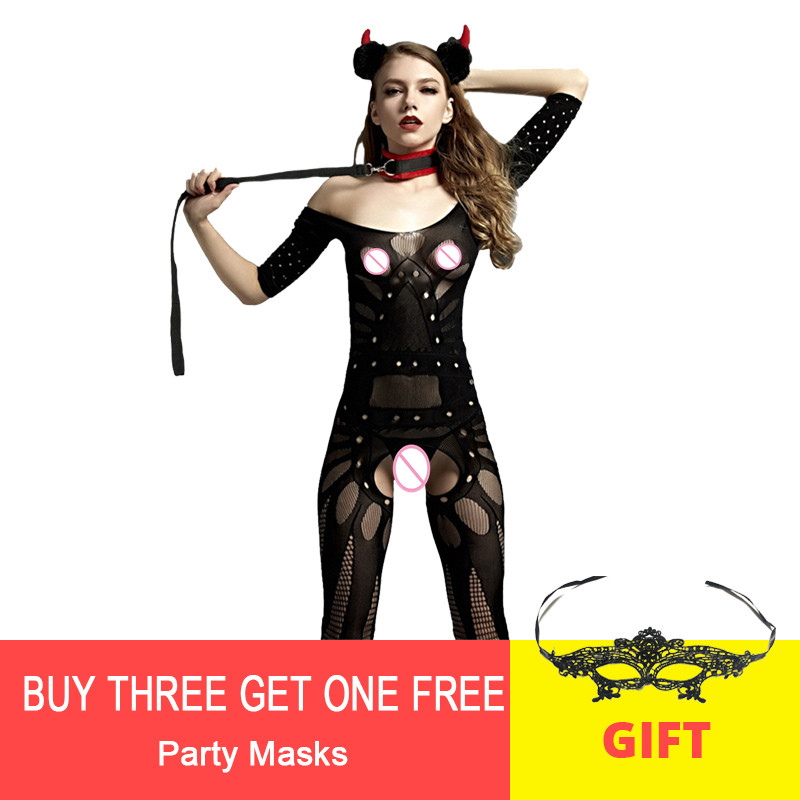 New Women Open Crotch Bodystocking Sexy Erotic Lingerie For Sex Fetish Body Doll Porno Underwear Crotchless Babydoll Costumes