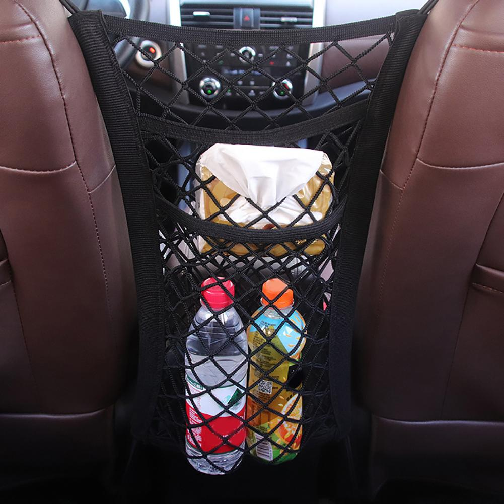 Stylish Durable Double Layer Pocket Car Front Seat Center Elastic Mesh Net Storage Bag Organizer