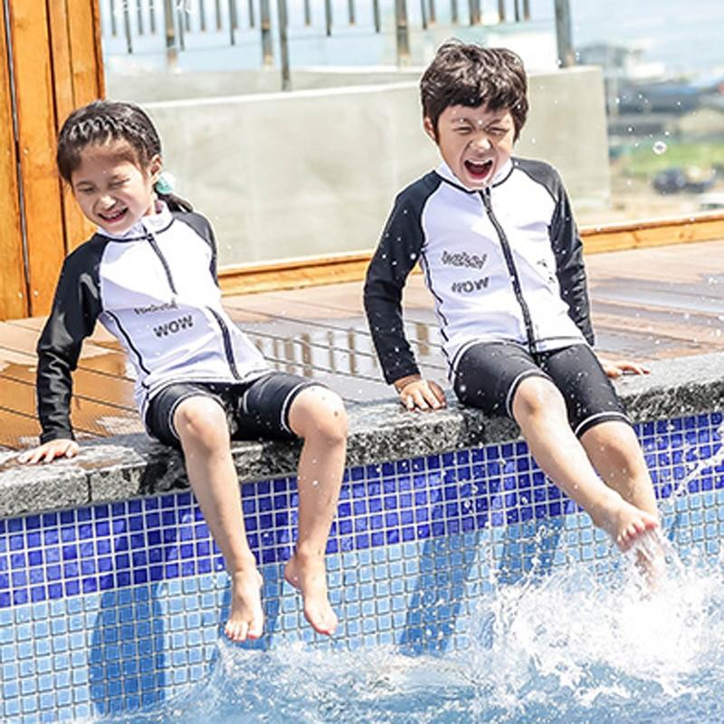 KID'S Swimwear BOY'S Split Type Tour Bathing Suit Boy Long Sleeve Sun-resistant Quick-Dry Diving Suit Baby Swimwear Men's Hot Sp