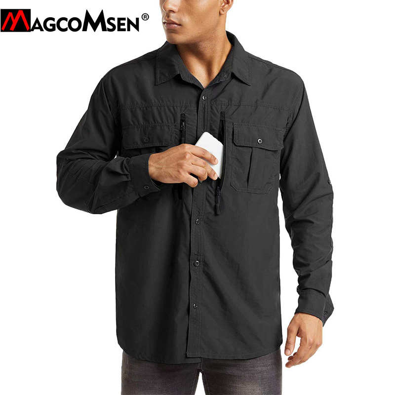 MAGCOMSEN Mens Army Military Shirts Summer Sun Protection Tactical Airsoft Cargo Work Shirts Casual Zipper Pockets Hunt Shirts|Casual Shirts| - AliExpress