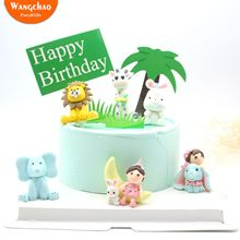Safari Cake Topper Lion Giraffe Rabbit Elephant Animals Party Supplies Polymer Clay Cute Cartoon Decoration Accessories