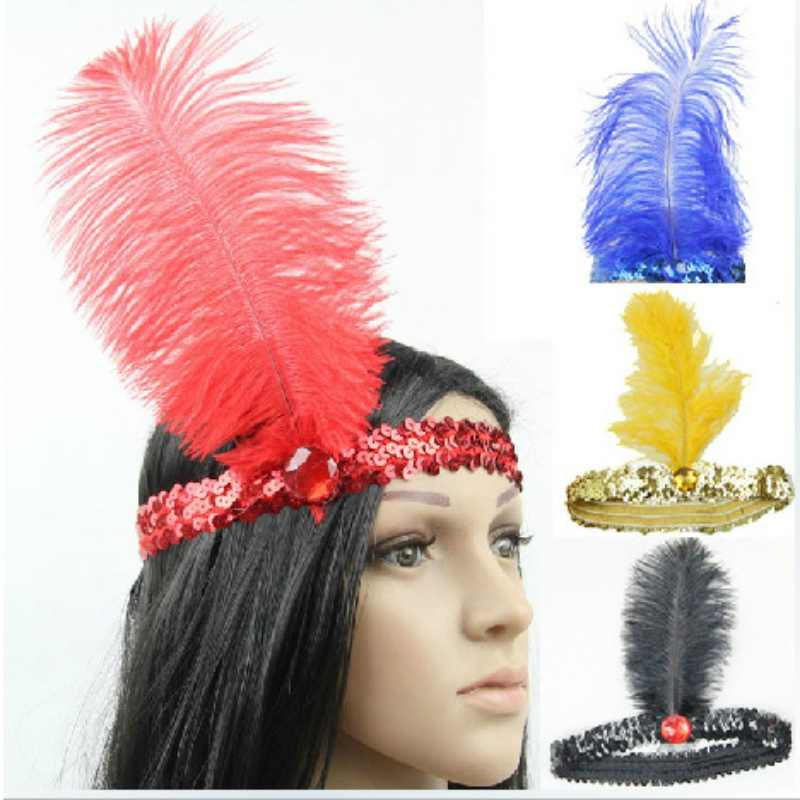 10 Colors Women Head Band Beaded Sequin Flapper Feather Headband Headpiece Party Costume Headband Hair Accessories
