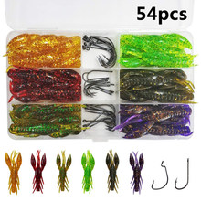 54pcs/box Soft Lobster fishing Lures jigging bait bionic crayfish Artificial Worm with jig hook for texas fishing rigs kit(China)