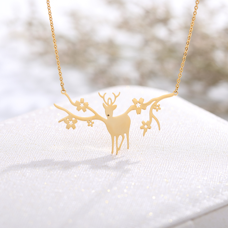 Lucky Sika Deer Antler Necklaces Steel Hollow Animals Minimalist Pendant Fashion Jewelry For Women Girls Accessories BFF Gift image