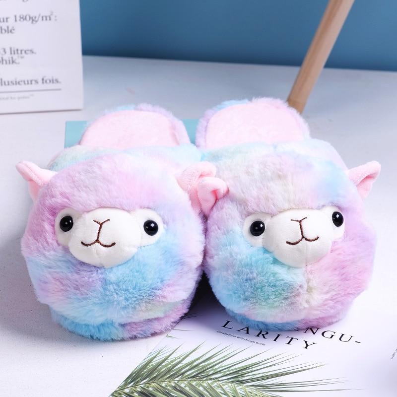 Cute Home Slippers Women Winter Indoor Fur Flip Flop Alpaca Pink Brown Alpaca Parent-child Floor Soft Stripe House Shoe Girl