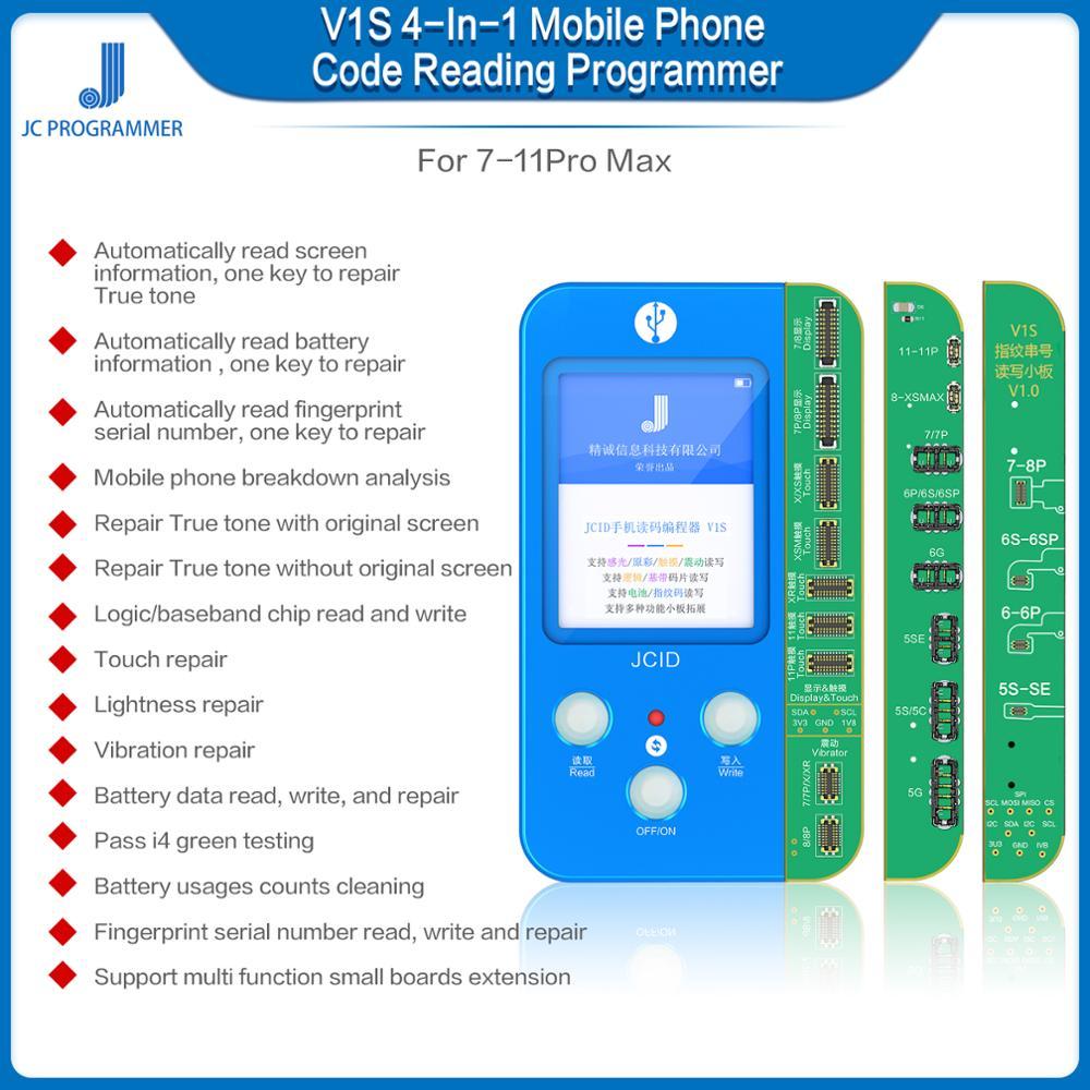 JC V1S 4-IN-1 For IPH 7-11 Pro Max Data Read &write Programmer For Truetone/lightness/touch/battery/fingerprint Repair