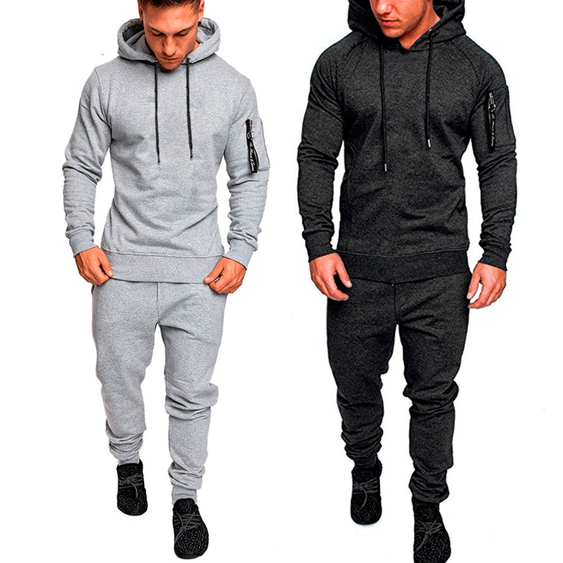 NEW Tracksuit Autumn Winter Camou Hoodies Casual Sweat Suits Drawstring Pullover Outfit Sportswear Men 2 Piece Set Plus Size