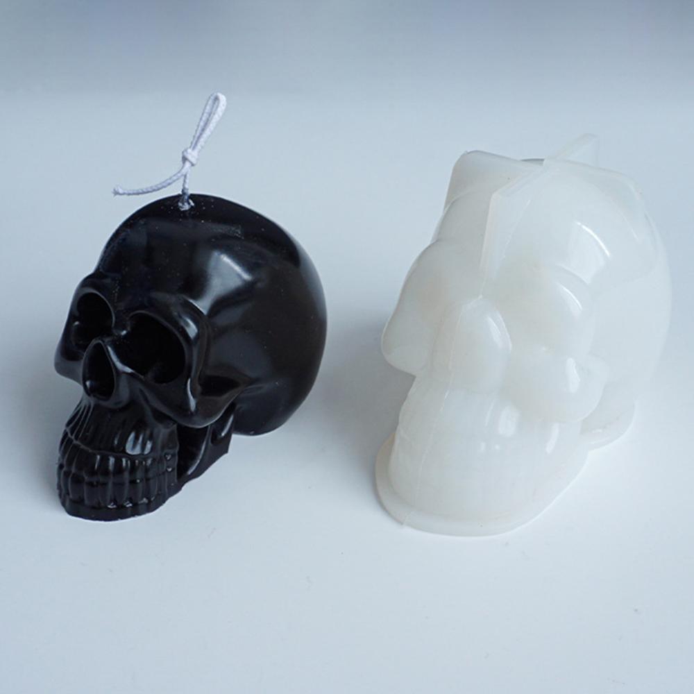 Silicone Mold Human Skull Head Halloween Cake Decorating Tools DIY Skull Candle Chocolate Gypsum Silicone Mold