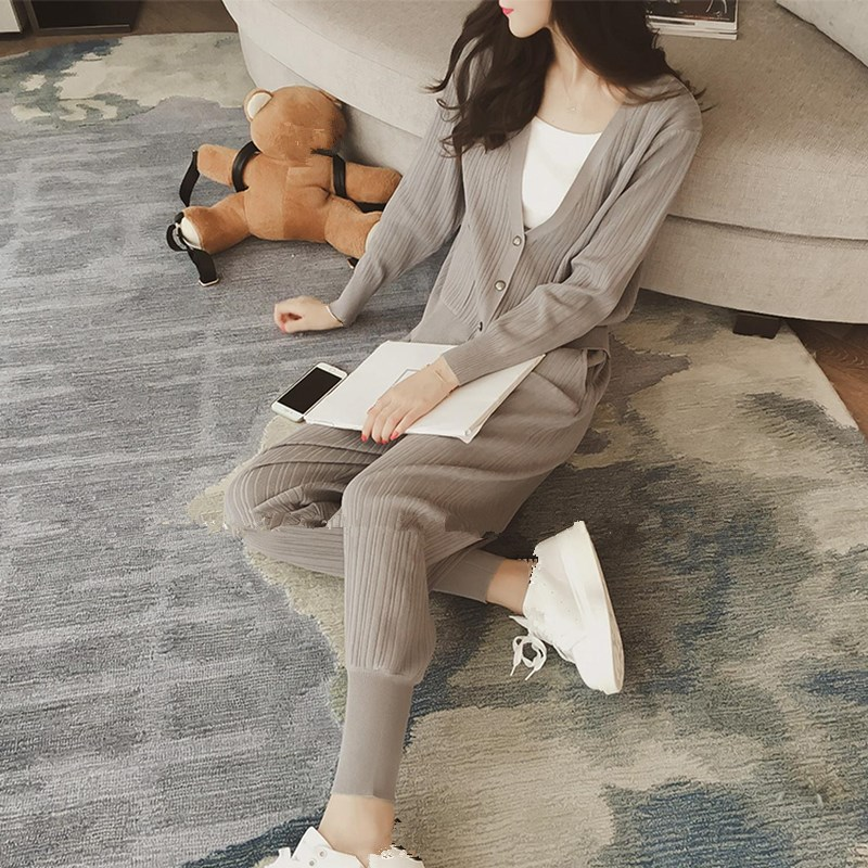 Knitted Casual Tracksuit Pant Suits 2018 Fashion 2 Piece Set Women Sweater And Trousers Set Pants Set 53