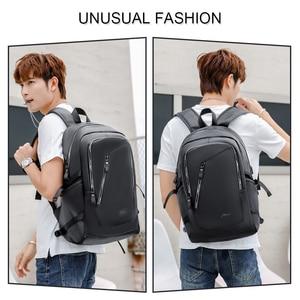 Image 5 - Fashion PU Leather Backpack Shcool Women Men Male 15.6 Laptop Backpacks Waterproof Notebook USB Charging Bagpack Bag Back Pack