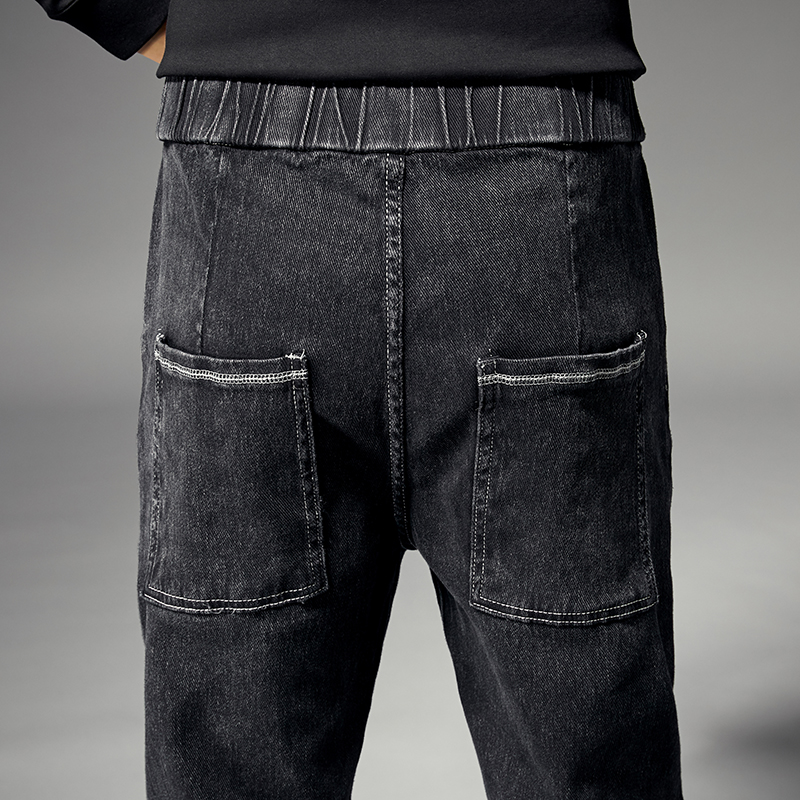 KSTUN Joggers Jeans Men Black Grey Elastic Waist Drawstring Ralaxed Tapered Jeans Male Denim Pants Leisure Cowboys  Homme Jean 18