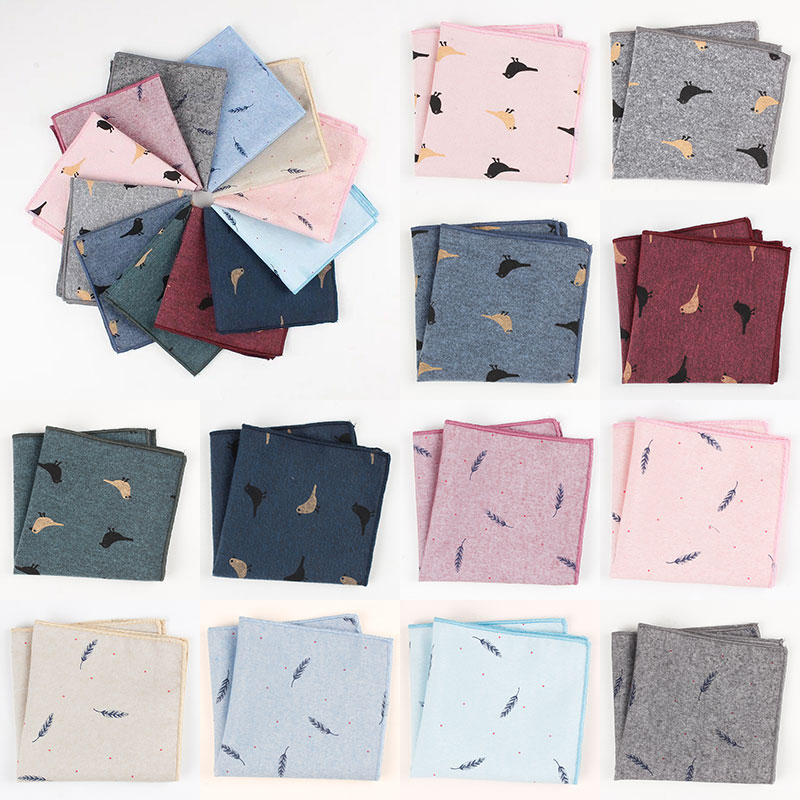 24*24cm New Men's Pocket Square Handmade Design Cotton Printed Bird Feather Soft Light Elegant Handkerchief Wedding Party Gifts