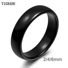 TIGRADE 2/4/6mm Black Brushed Fashion Ceramic Ring Women Men Wedding Rings Engagement Band Female Jewelry bague Plus Size 4-13