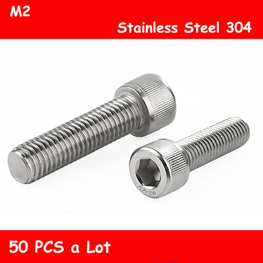 <font><b>M2</b></font> Free shipping 50pcs/Lot DIN912 304 stainless steel screw <font><b>M2</b></font>*<font><b>3mm</b></font>-<font><b>M2</b></font>*40mm Hex Socket Head Cap Screw <font><b>Bolts</b></font> Furniture Fastener image