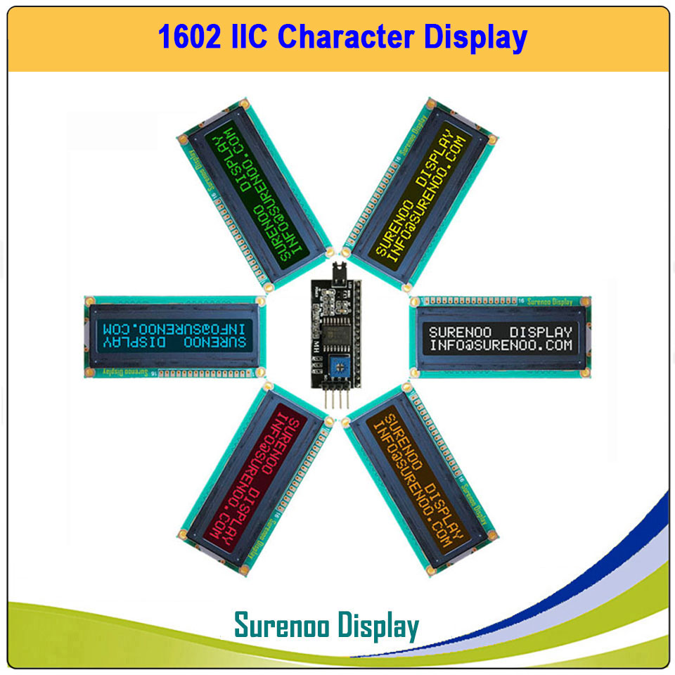 1602 IIC I2C Character LCD Module Screen Dispaly LCM Panel In More Colors On Black For Arduino