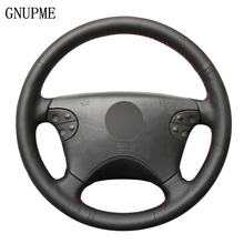 שחור אמיתי עור תפור ביד רכב הגה כיסוי עבור מרצדס בנץ W210 E class E320 2000 2001 2002