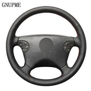 Image 1 - Zwart Lederen Hand Gestikt Auto Stuurhoes Voor Mercedes Benz W210 E Klasse E320 2000 2001 2002