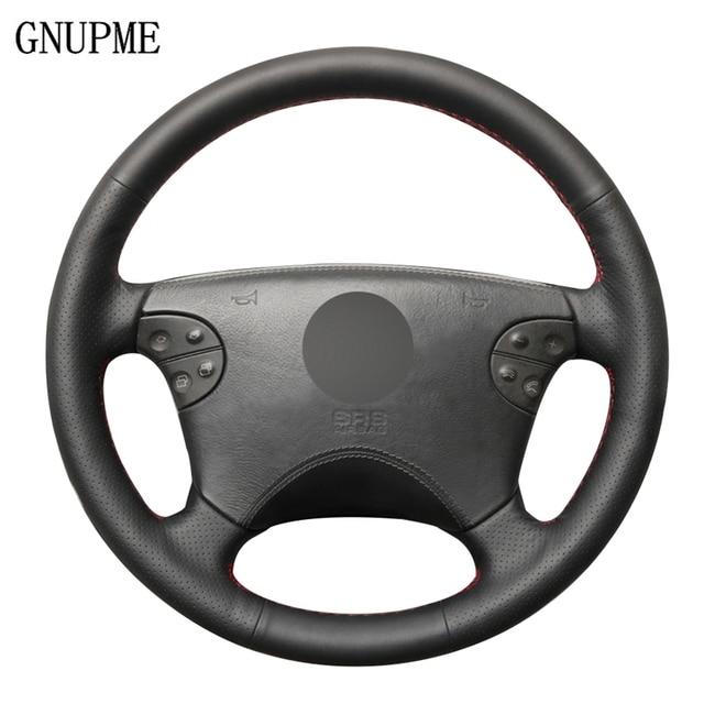 Zwart Lederen Hand Gestikt Auto Stuurhoes Voor Mercedes Benz W210 E Klasse E320 2000 2001 2002