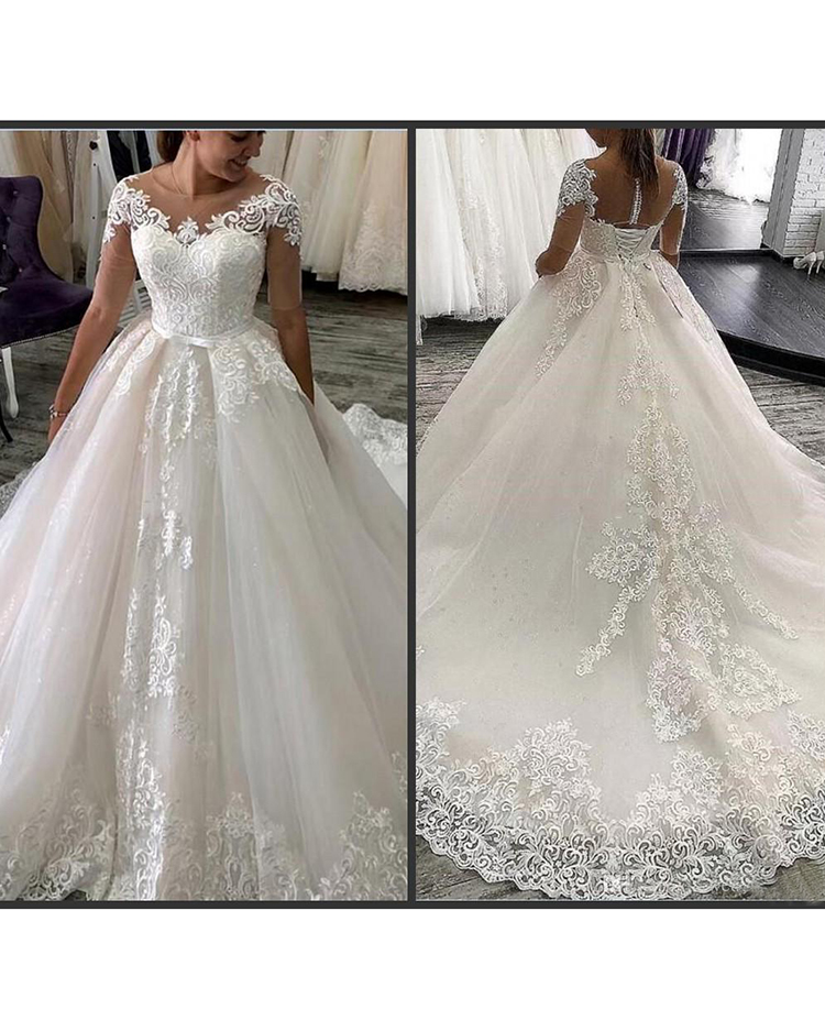 Sparkle Wedding Dress 2020 Lace Ball Gown Dress With Lace Appliques Sheer Half Sleeve Wedding Women Dress Vestido De Noiva