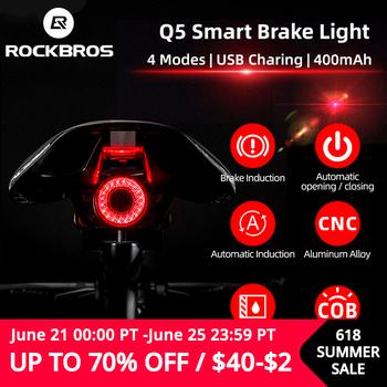 ROCKBROS-Światło rowerowe LED tylne inteligentne sygnalizujące hamowanie wodoodporne IPX6 z możliwością ładowania akcesoria rowerowe Q5 tanie i dobre opinie CN (pochodzenie) TL907Q50 Sztyc rowerowa Baterii Saddle Seatpost Aprox 55g (include holder) 40*34*34 mm 60 Lumen Brake Motion Light Sensing