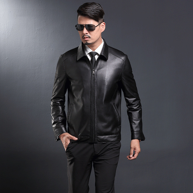 Real Luxury Sheeskin Leather Jacket Men Coat Black Genuine Leather Jackets Chaqueta Cuero Hombre Plus Size 4XL FYY579 S