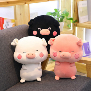 Cute Cartoon Black And White Couple Pig Doll Pink Pig Sleeping Pillow Pig Year Mascot Female Birthday Gift For Baby        Sp079 japan genuine 2019 new year cute kawaii mascot zodiac lucky blessing pig cat figure decortion desktop