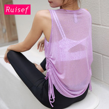 White Black Purple See Through Gym Tank Top Women Yoga Top Sports Shirt Drawstring Sleeveless Yoga Vest Sport Top Fitness Women fitness women top yoga shirts female sport gym top sport shirt women top yoga tank top fitness women clothing t shirt