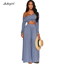 купить Casual Autumn Solid Two Piece Set Sexy Off Shoulder T Shirts Top With Wide Leg Pant Women Sets Elegant Outwear Women Outfit Suit по цене 1105.28 рублей