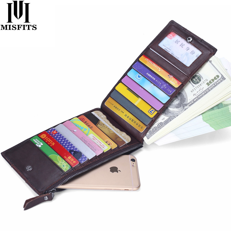 MISFITS Men Genuine Leather Thin ID Credit Card Holder Business Male Vintage Long Purse Zipper Pocket Card Case Clutch Wallets