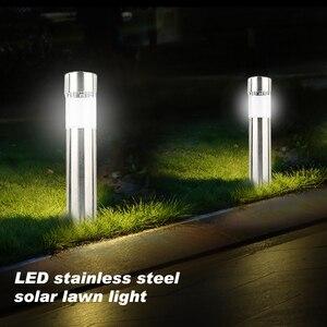 Светодиодная лампа для лужайки на солнечной батарее из нержавеющей стали, уличный напольный садовый светильник, водонепроницаемая лампа д...