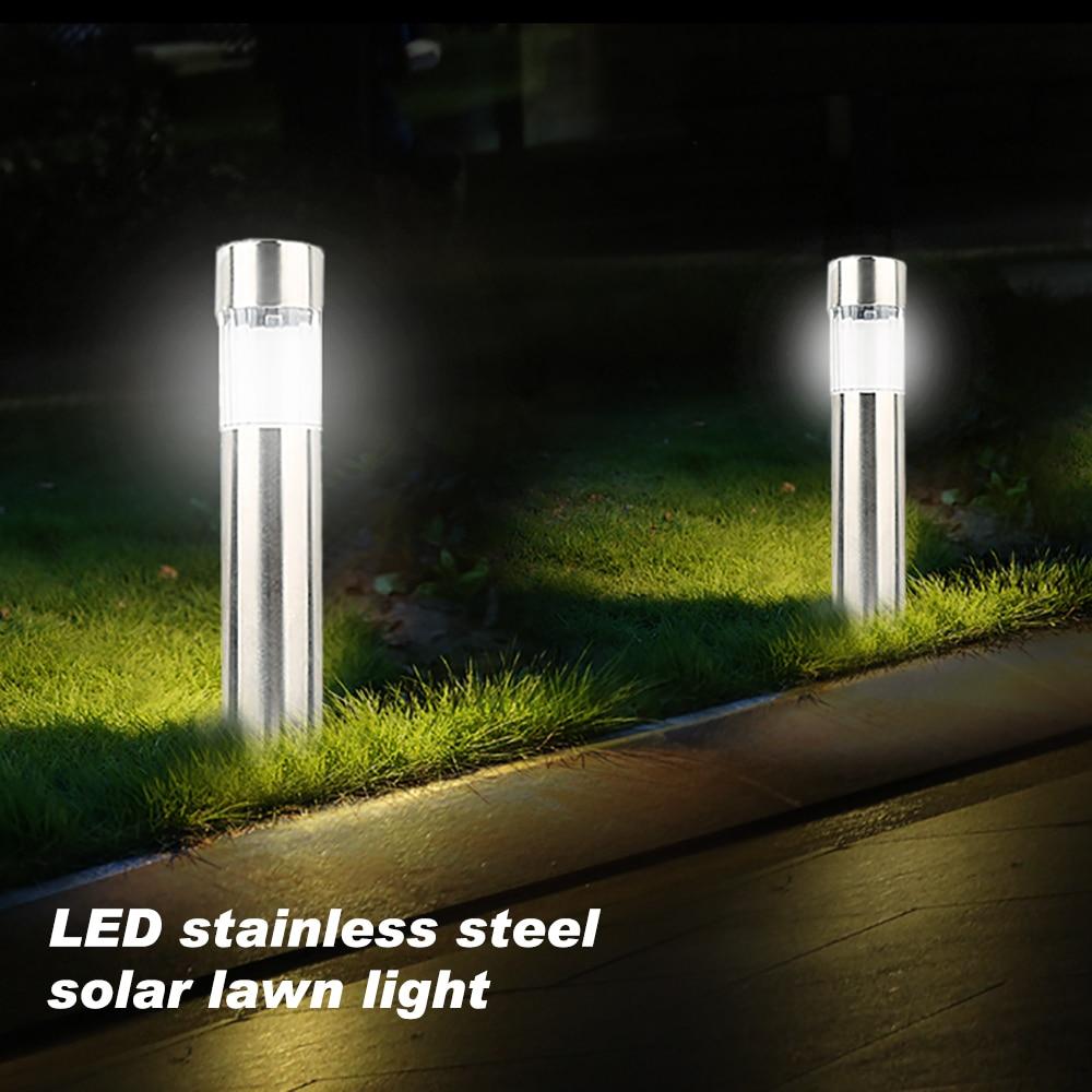 Lámpara de césped Solar LED de acero inoxidable para exteriores Luz de jardín a prueba de agua para jardín paisaje lámpara de Patio