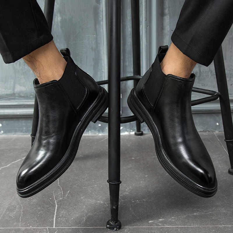 Kış Chelsea çizmeler erkekler deri ayakkabı erkekler yarım çizmeler moda marka sonbahar kış erkek ayakkabı 2019 fgb5