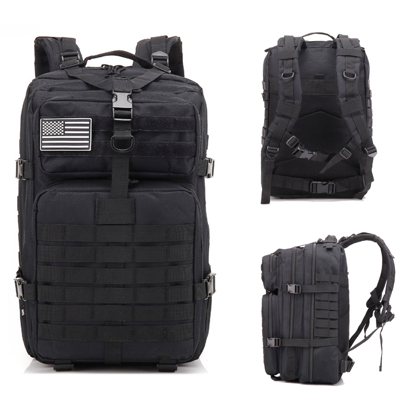 45L Large Military Tactical Backpack Molle Rucksacks Camping Hiking Trekking Bag