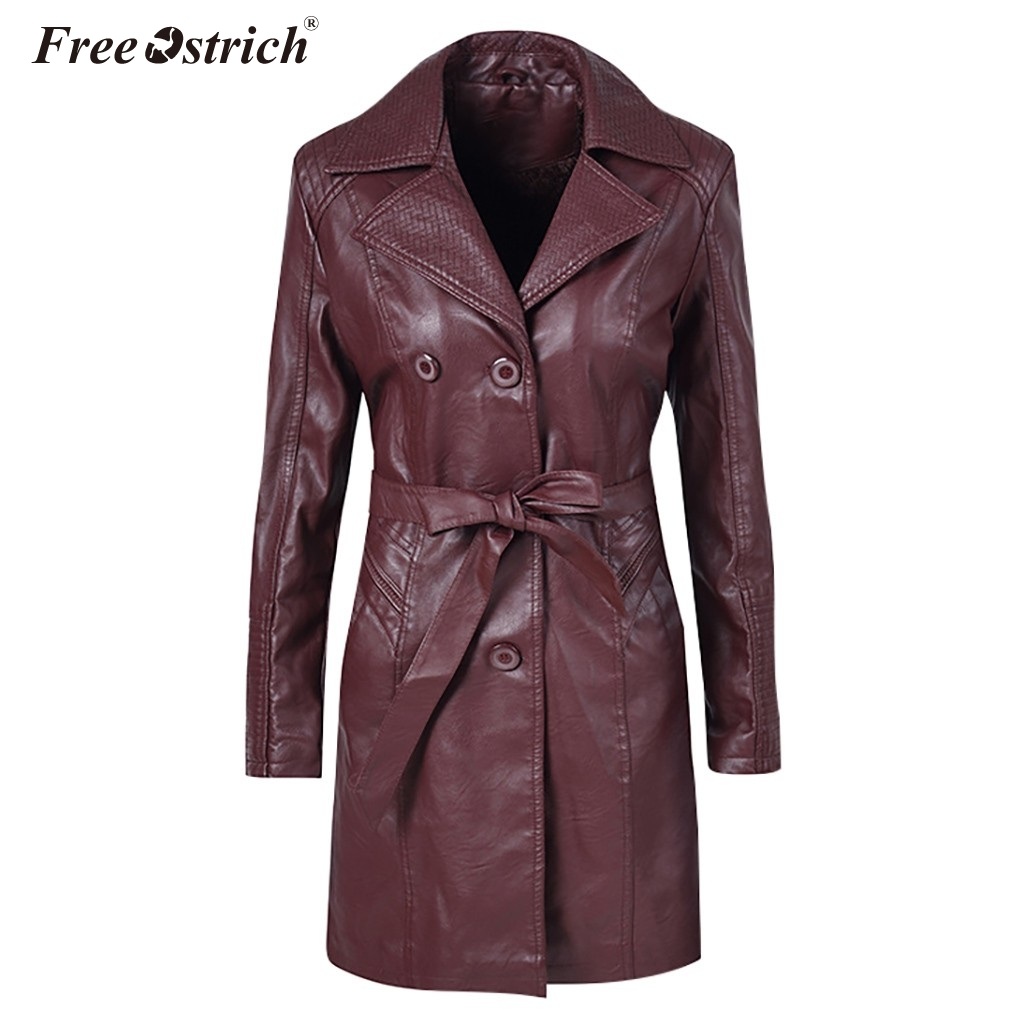 Free Ostrich 2019 Fashion Winter Faux Leather   Jacket   Women's   Basic     Jackets   Slim Motorcycle   Jacket   Women Coats Female N30
