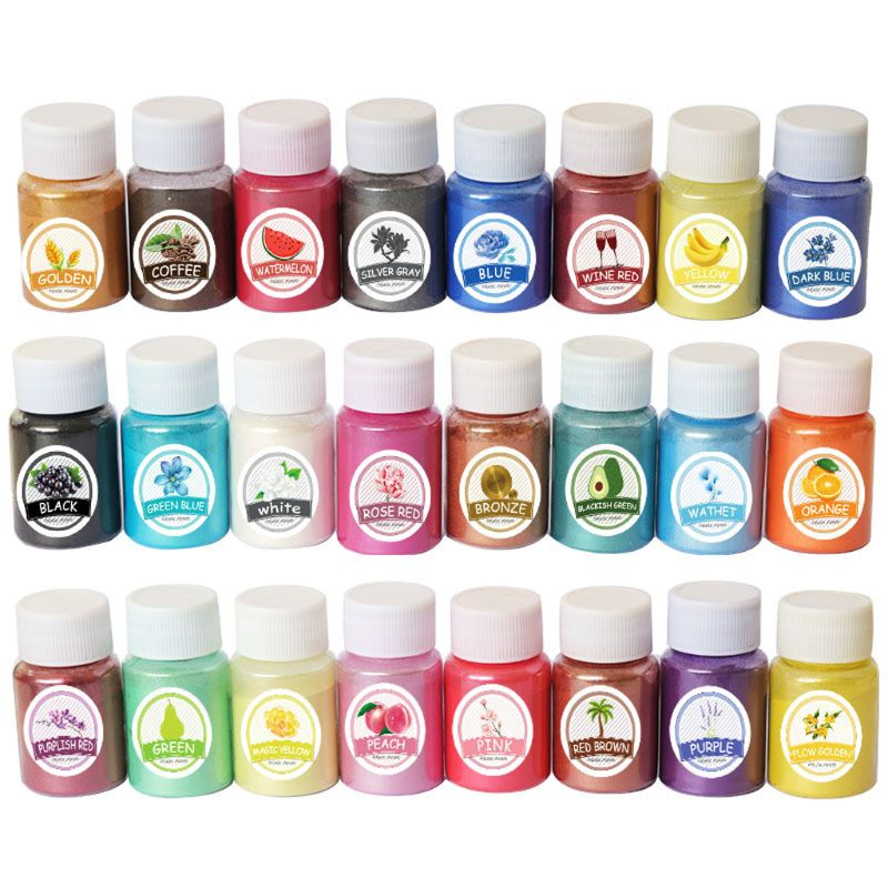24 Colors Mica Mineral Powder Epoxy Resin Pigment Pearlescent Pigment Colorant