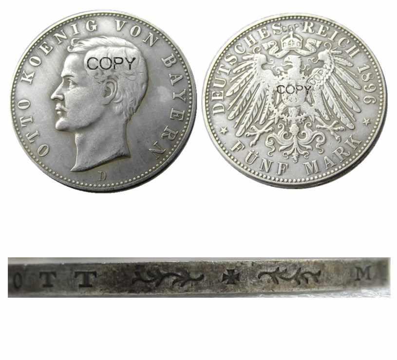 גרמניה גרמנית בוואריה מטבע 5 סימן כסף 1896D Otto כסף מצופה עותק מטבעות