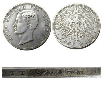 Germany German Bavaria coin 5 mark silver 1896D Otto Silver Plated Copy Coins image