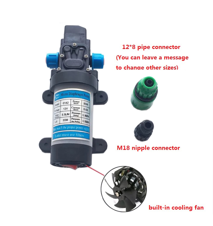 Micro Diaphragm Pump 12V 30W 72PSI Diaphragm Self Priming Water Pump for Agriculture Spraying and Fluid Transfer