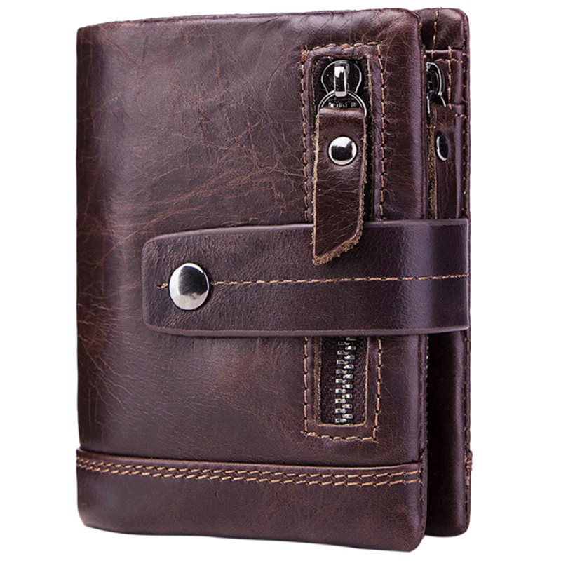 Male Purse Mens Wallet Money-Bag Genuine Short Gzcz Zipper for Coffee Coffee