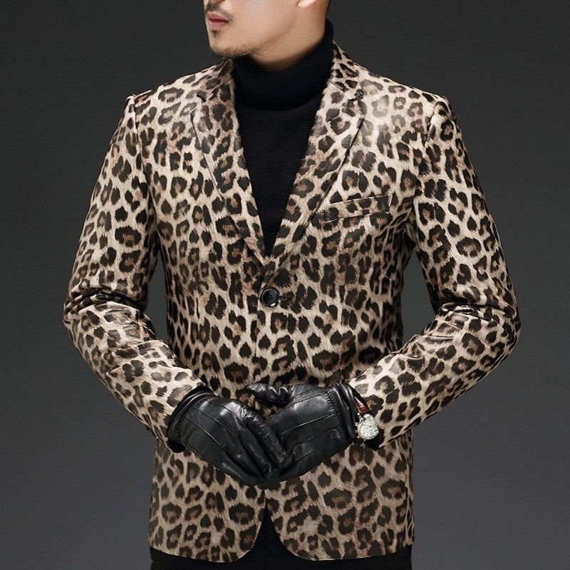 DiscountÁBlazers Slim-Fit Long-Sleeve Punk-Style Leopard Male Top-Brand Plus-Size Genuine-Leather