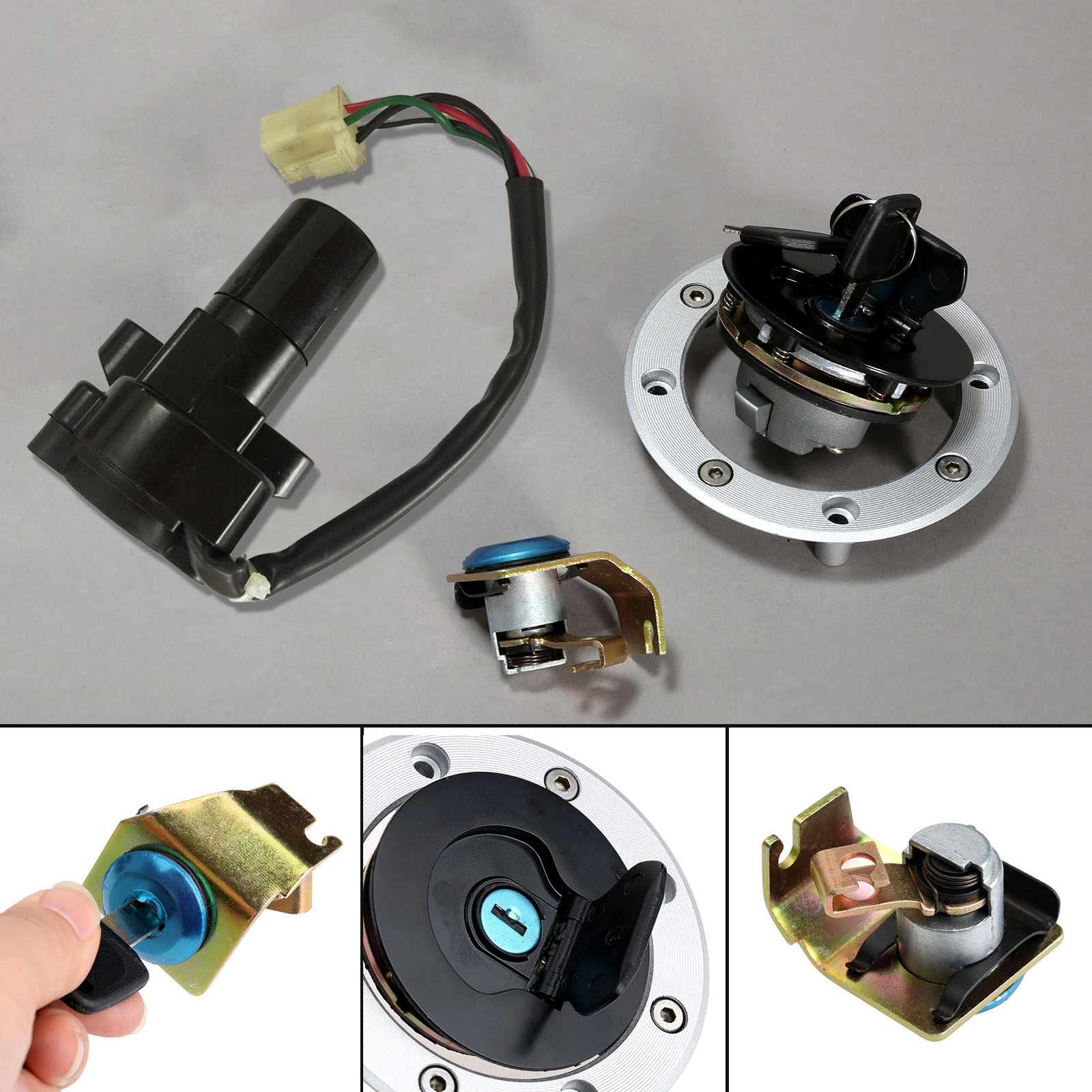 aluminio moto ignition mudar cap gas combustivel tampa de assento conjunto chave de bloqueio com bloqueio