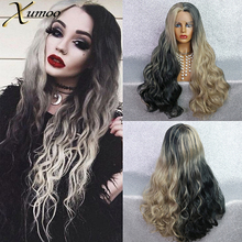 XUMOO Heat Resistant Synthetic Lace Front Wig Long Wavy Ombre Black Blonde Wig Glueless Cosplay Synthetic Wigs For Black Women