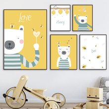 Wall Art Honey Bear Bee Kids Bedroom Nordic Animal Posters And Prints Boy Wall Pictures For Living Room Decor Canvas Painting balloon whale panda wall art canvas painting nordic posters and prints wall pictures for kids bedroom baby boy girl room decor