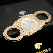 COHIBA Gadget Gold Tone Grid Double Blade Stainless Steel Shape Cigar C