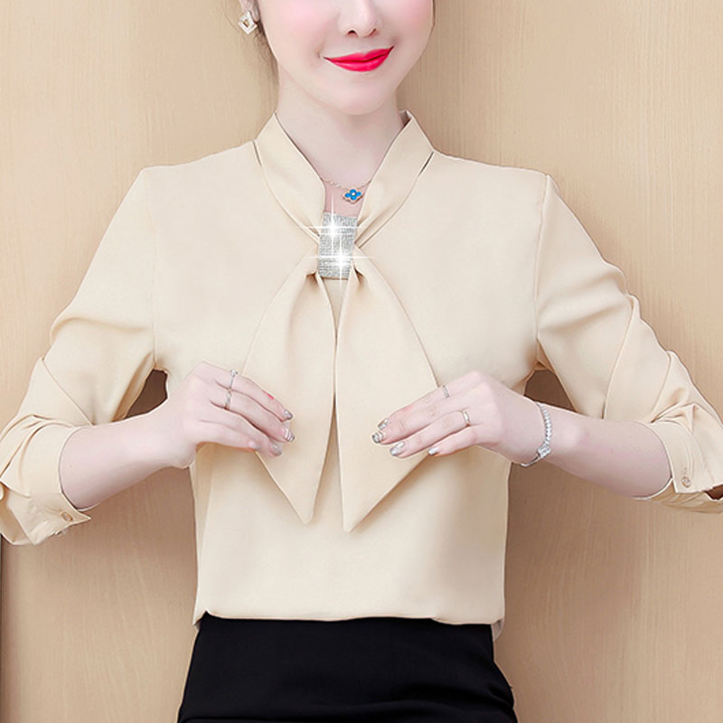Womens Tops And Blouses 2021 Ladies Tops Chiffon Blouse Bow Solid Blusas Femininas Shirts For Women Tops Plus Size Black 8053 50 3