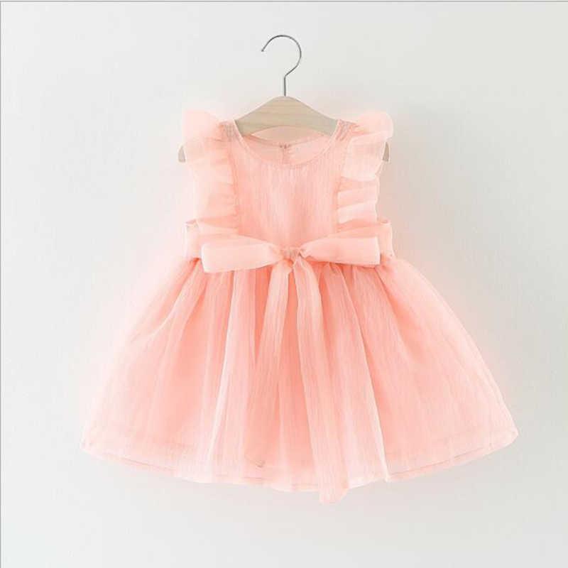 女の赤ちゃんドレス 0-3y キッズベビーファンシー誕生日メッシュドレス幼児ノースリーブパーティードレス誕生日ドレス