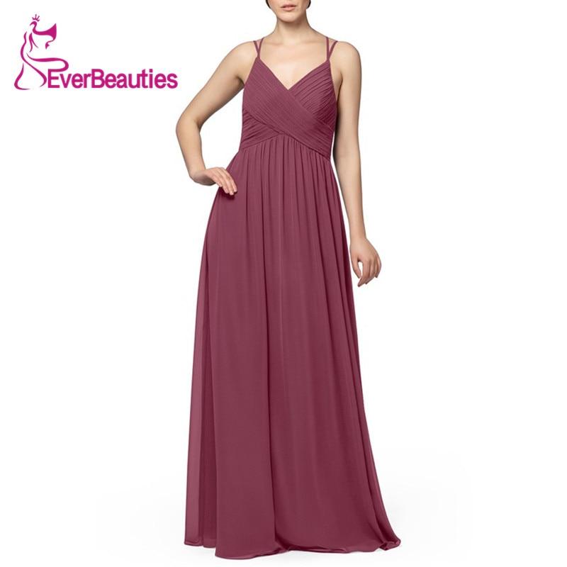 2020 Dark Reddish Purple Elegant Bridesmaid Dresses Chiffon Party Dress Graceful Spaghetti Strap Robe De Demoiselle D Honneur