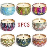 8pcs Fragrance Aromatherapy Scented Candle Natural Soy Wax Travel Tin Home Decor High Quality and Brand New