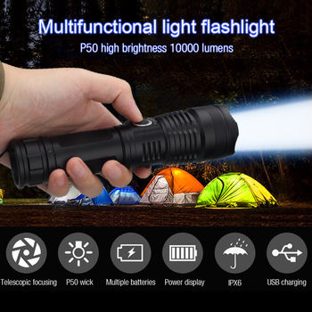 Lanterne XH-P50 Rechargeable Lamp Flashlight 100000 Lumen Powerful Torches Black Sofirn Light Camping 18650/26650 Battery